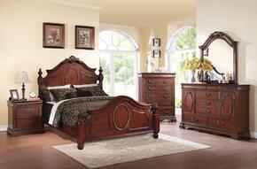 Estrella 21727EK5PC Bedroom Set with Eastern King Size Bed + Dresser + Mirror + Chest + Nightstand in Dark Cherry Finish
