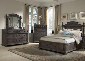 Versailles 980066DMC 4 PC Bedroom Set with King Size Bed + Dresser + Mirror + Chest in Normandie Finish