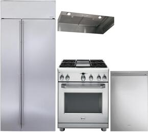 "4-Piece Stainless Steel Kitchen Package with ZISS420NKSS 42"" Side by Side Refrigerator, ZDP364NDPSS 36"" Freestanding Dual Fuel Range, ZVC36LSS 36"" Hood Insert, and ZDT915SSJSS 24"" Beverage Center"