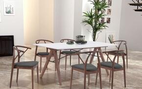 "100143 71"" Dining Table Complete with 6 Dining Chairs"