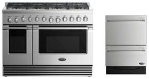 "2 Piece Stainless Steel Kitchen Package With RGV2488N 48"" Gas Freestanding Range and Free DD24DV2T7 24"" Drawers Dishwasher"