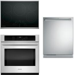 "3-Piece Stainless Steel Kitchen Package with ZEU30RSJSS 30"" Electric Smoothtop Style Cooktop,ZET9050SHSS 30"" Single Wall Oven, and ZDT915SPJSS 24"" Fully Integrated Dishwasher"