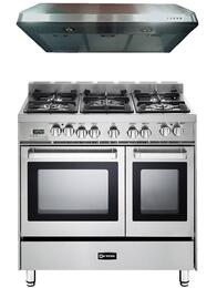 "2-Piece Stainless Steel Kitchen Package with VEFSGE365NDSS 36"" Double Oven Dual Fuel Range and VEHOOD3610 36"" Under Cabinet Range Hood"