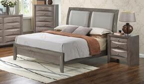G1505AFBCHN 3 Piece Set including Full Size Bed, Chest and Nightstand in Gray.
