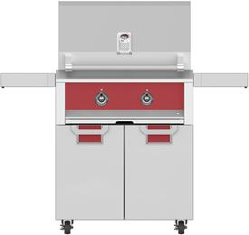 "30"" Natural Gas Grill with ECD30RD Tower Grill Cart with Two Doors, in Matador Red"