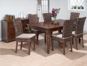 733-66SET7R Urban Lodge Fixed Top Dining Table with 6 Rattan Dining Chairs