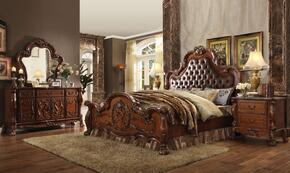 Dresden Collection 23140QDM2N 5 PC Bedroom Set with Queen Size Bed + Dresser + Mirror + 2 Nightstands in Cherry Oak Finish