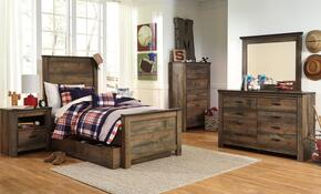 Trinell Twin Bedroom Set with Panel Bed with Trundle, Dresser, Mirror and Nightstand in Brown