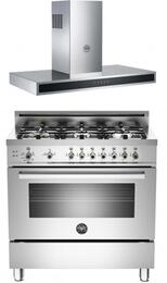 "Stainless Steel 2-Piece Kitchen Package With PRO366GASXLP 36"" Professional Series Gas Freestanding Range and KG36CONX 36"" Wall Mount Range Hood"