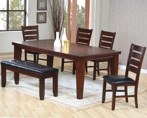 101881SET6 Imperial 6 PC Dining Room Table, 4 Chairs and 1 Bench with Bold Tapered Legs, Ladder Back Design and Black Cushioned Seats in Rustic Oak Finish