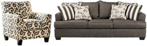 Levon Collection 73403SAC 2-Piece Living Room Set with Sofa and Accent Chair in Charcoal