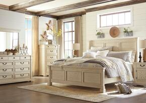 Bolanburg King Bedroom Set with Louvered Panel Bed, Dresser, Mirror, 2x Nightstands and Chest in Antique White