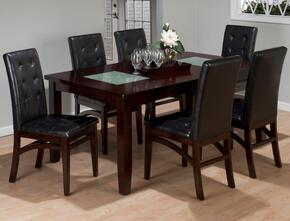 863-72SET7 Chadwick Espresso Dining Table with Crackled Glass Inserts and 6 Tufted Back Upholstered Dining Chairs
