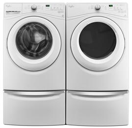 "White Front Load Laundry Pair with WFW75HEFW 27"" Washer, WGD75HEFW 27"" Gas Dryer and 2 XHPC155XW Pedestals"