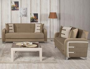 Decora DESBLSGBN Package Containing Sofabed and Convertible Love Seat with Matching Pillows, Tapered Polished Metal Feet and Button Detailing in Golf Brown