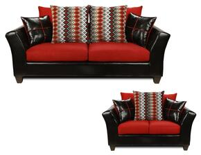294170SCRSL Cynthia Sofa + Loveseat with 1.5 Density Dacron Wrapped Cushions, Toss Pillows, No Sag Steel Springs and Solid Kiln Dried Hardwood Frames in Denver Black, Victory Cardinal, Cogee B & W Red