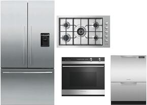 "4 Piece Stainless Steel Kitchen Package With RF201ADUSX5 36"" French Door Refrigerator, OB30SDEPX3 30"" Electric Wall Oven, DD24DCTX9 24"" Drawers Dishwasher and CG365DWLPACX2 36"" Gas Cooktop For Free"