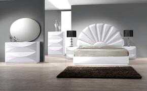 PARIS Series PARIS-KING-4SET PARIS King Bed, Night Stand, 8 Drawer Dresser, Oval Shaped Mirror and 6 Drawer Chest in Gloss White Finish