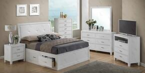 G1275BKSBDMNTV 5 Piece Set including King Size Bed, Dresser, Mirror, Nightstand and Media Chest in White