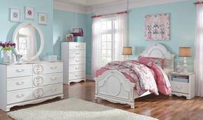 Korabella Twin Bedroom Set with Panel Bed, Dresser, Mirror, Night Stand and Chest in White Finish