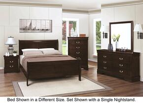 Louis Philippe 202411TDM2NC 6-Piece Bedroom Set with Twin Sleigh Bed, Dresser, Mirror, 2 Nightstands and Chest in Cappuccino Finish