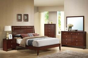 20400Q5PCSET Ilana Queen Size Bed + Dresser + Mirror + Chest + Nightstand in Brown Cherry Finish