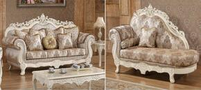 Serena 691S-CH 2 Piece Living Room Set with Sofa and Chaise in Pearl White Color