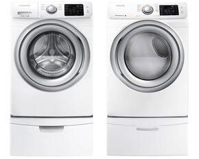 "White Front Load Laundry Pair with WF42H5200AW 27"" Washer, DV42H5200EW 27"" Electric Dryer and 2 WE357A0W Pedestals"