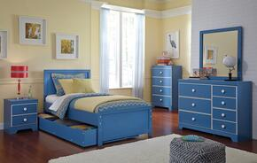 Bronilly Twin Bedroom Set with Panel Storage Bed, Dresser, Mirror, Night Stand and Chest in Blue