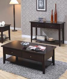 700967 Whitehall End Table + Coffee Table with Shelf, One Drawer, Metal Knob, Smooth Tops and Straight Edges in Cappuccino Finish