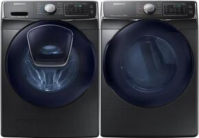 "Black Front Load Laundry Pair with WF45K6500AW 27"" Front Load Washer and DV45K6500GV 27"" Gas Dryer"