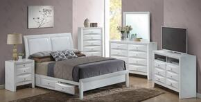 G1570DQSB2SET 6 PC Bedroom Set with Queen Size Storage Bed + Dresser + Mirror + Chest + Nightstand + Media Chest in White Finish