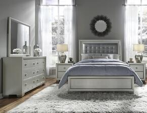 Celestial 89602707100BD2N 5 PC Bedroom Set with King Size Bed + Dresser + Mirror + 2 Nightstands in Silver Color