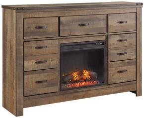 Becker Collection BR-549-22F2 7-Drawer Dresser with W100-02 Electric Fireplace Insert Glass/Stone in Brown