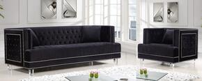 Lucas Collection 6092PCARMKIT4 2-Piece Living Room Sets with Stationary Sofa, and Living Room Chair in Black