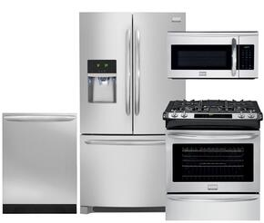 "Gallery 4-Piece Smudge-Proof Stainless Steel Kitchen Package with FGHF2366PF 36"" Freestanding French-Door Refrigerator, FGGS3065PF 30"" Slide-In Gas Range, FGID2466QF Fully Integrated Dishwasher and FGMV175QF Over-The-Range Microwave"