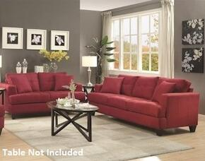 Samuel Sofa Collection 5051852PC 2-Piece Living Room Set with Sofa and Love Seat in Crimson Finish