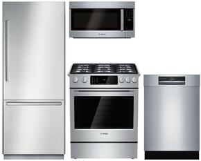 """4-Piece Stainless Steel Outdoor Kitchen Package with B30BB830SS 30"""" Bottom Freezer Refrigerator, HGIP054UC 30"""" Slide-In Gas Range, HMVP053U 30"""" Over the Range Microwave, and SHE89PW55N 24"""" Fully Integrated Dishwasher"""