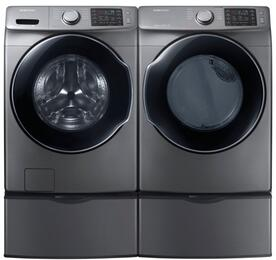 "Platinum Front Load Laundry Pair with WF45M5500AP 27"" Washer, DVG45M5500P 27"" Gas Dryer and 2 WE357A0P Pedestals"