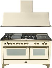 "2-Piece Antique White Kitchen Package with UM150FSDMPAY 60"" Freestanding Dual Fuel Range (Oiled Bronze Trim, 5 Burners, French Cooktop) and UAM150A 60"" Wall Mount Range Hood"