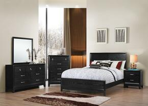1002-5052/68SQ Metropolitan Bedroom Set Queen Bed, Dresser, Mirror, Chest and Nightstand with Apron, Molding Detail and Tapered Legs in Black