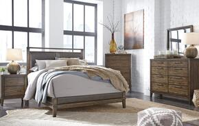 Larsen Collection California King Bedroom Set with Panel Bed, Dresser, Mirror and Nightstand in Brown