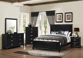 1000-5052/68S Nantucket Bedroom Set Including Queen Bed, Dresser, Mirror, Chest and Nightstand with Molding Detail, Turned Legs and Bun Feet in Black