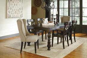 Gerlane Collection 7-Piece Dining Room Set with Dining Table, 4 Side Chairs and 2 Upholstered Chairs in Dark Brown