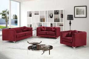3-Piece Isabelle Collection Living Room Set with Sofa, Loveseat and Arm Chair in Burgundy