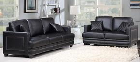 Ferrara Collection 654-BL-S-L 2 Piece Living Room Set with Sofa and Loveseat in Black