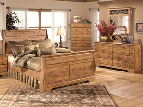 Bittersweet King Bedroom Set with Sleigh Bed, Dresser, Mirror and Chest in Light Wood