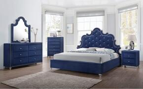 Caroline Collection CAROLINEKPBDM2NC 6-Piece Bedroom Set with King Panel Bed, Dresser, Mirror, 2 Nightstands and Chest in Navy