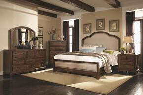 Laughton Collection 203261KESET 5 PC Bedroom Set with King Size Bed + Dresser + Mirror + Chest + Nightstand in Rustic Brown Finish