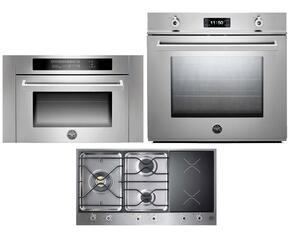 "Professional F30PROXT 30"" Single Electric Wall Oven 3 Piece Stainless Steel Kitchen Package with PM363I0X 36"" Electric/Gas Cooktop and SO24PROX Built In Microwave"